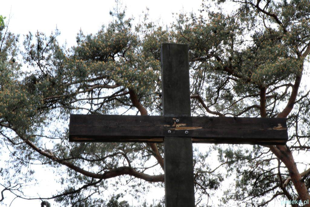Węgorzewo cmentarz. Krzyż z dziełem dzięcioła