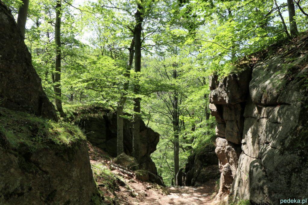 Droga wśród skał z zamku Chojnik