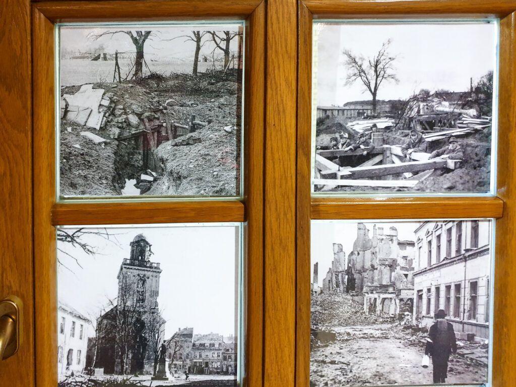 Zdjęcia zniszczeń w muzeum broni