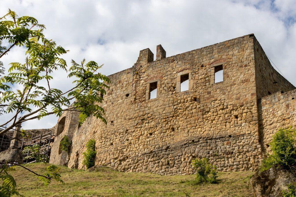Zamek Kamieniec w Odrzykoniu. Ściana z zachowanymi otworami okiennymi