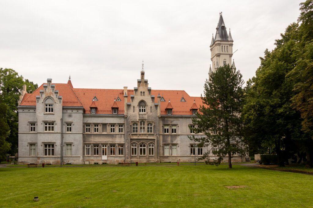 Pałac w Nakle Śląskim. Pałac od strony parku